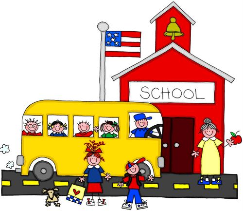 bus, school house and kids image